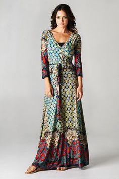 "3/4 sleeve dress 94% Polyester 6% Spandex Sml dress length approx. 56"" long Medium (6-8) length approx. 56.5"" long $50"