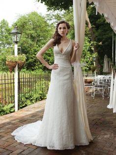 Allover Plunging V-Neckline Empire Bodice A-line Wedding Dress