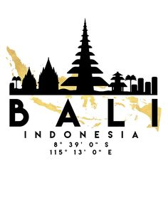 BALI INDONESIA SILHOUETTE SKYLINE MAP ART -  The beautiful silhouette skyline of Bali and the great map of Indonesia in gold, with the exact coordinates of Bali make up this amazing art piece. A great gift for anybody that has love for this city. Contact me: digital@deificusart.com  bali indonesia downtown silhouette skyline map coordinates souvenir gold deificus art