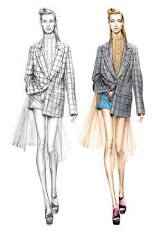 Alessia Zambonin - Istituto Marangoni Fashion Illustration Workshop, sketch and rendering #DriesVanNoten #MichaelKors #fashionsketch #womanfashion #fasiondrawing #pantone #copic #fashionillustration #fashionmodel #girl