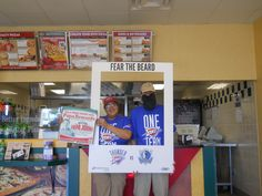 Joseph and Jessie at Papa John's Pizza Fear The Beard! Tickets are on sale sale now for the Oklahoma City Thunder NBA preseason game 10/24.
