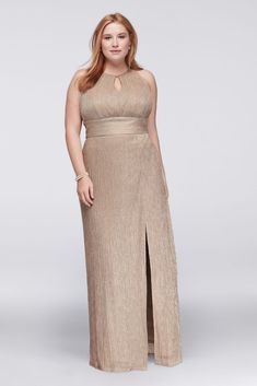 f12eb8b7 Jersey Metallic Keyhole Plus Size Halter Sheath Mother of Bride/Groom Dress  - Gold,