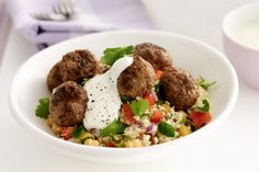Mediterranean Meatballs with Couscous, Chickpeas & Herb Salad