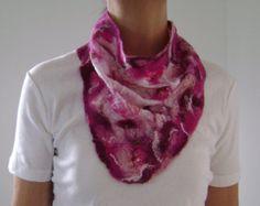 Nuno Felt Triangle Scarf Neckerchief White with Pink, Magenta and Fuchsia Trim -    Edit Listing  - Etsy