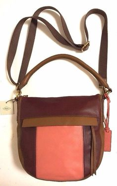 NWT FOSSIL Molly Hobo Leather Brown Coral Maroon Crossbody Shoulder Bag   198  Fossil  HoboShoulderCrossbody 6c1c269e89779