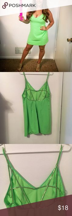 Lime green shift dress Lime green shift dress with gold trim. Open strappy back! Size L worn once Dresses Mini