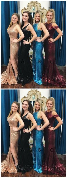 Mermaid Style V-Neck Sweep Train Black Sequined Prom Chic Bridesmaid Dresses, Classy Prom Dresses, Sexy Dresses, Party Dresses, Strapless Dress Formal, Evening Dresses, Fashion Dresses, Formal Dresses, Mermaid Style