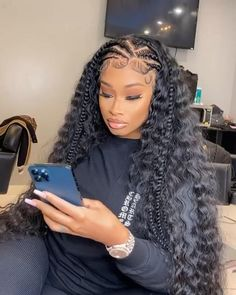 Braids Hairstyles Pictures, African Braids Hairstyles, Baddie Hairstyles, Weave Hairstyles, Hairstyles With Braiding Hair, Lemonade Braids Hairstyles, Hairstyles For School, Hair Ponytail Styles, Curly Hair Styles