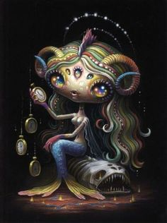 """Supersonic Art: Yoko D'Holbachie's """"The Alchemist"""" at Last Rites. Creepy Art, Weird Art, Lowbrow Art, Psychedelic Art, Up Girl, Surreal Art, Pictures To Draw, Cute Art, Art Inspo"""