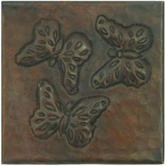 """Hammered Copper Tile by Hammermarc. $7.50. Copper tiles are the ideal option to accentuate your design. From backsplashes to wall accents, copper tiles will flawlessly complete the look of your project. With a wide assortment of designs from which to choose, you are sure to find the copper tiles best suited to your needs. 4""""x 4"""" Copper Tile . Check Design. Sold Individually. Hand Hammered with ceramic tile backers."""
