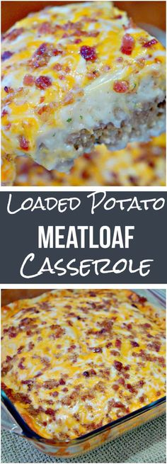 Loaded Potato Meatloaf Casserole is an easy dinner recipe. This ground beef cass… Loaded Potato Meatloaf Casserole is an easy dinner recipe. This ground beef casserole has a meatloaf base topped with mashed potatoes and loaded with cheese and bacon. Meatloaf Casserole Recipe, Casserole Dishes, Hamburger Potato Casserole, Breakfast Casserole, Hashbrown Breakfast, Loaded Mashed Potato Casserole, Mashed Potato Meals, Easy Casserole Recipes For Dinner Beef, Easy Family Dinner Recipes