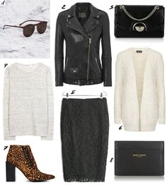 it's weekend again! you know what that means. come and shop with me now on THE DASHING RIDER (more: www.thedashingrider.com) featuring Muubaa Leather Jacket, Senso Talulah Leopard Boots, Topshop Cardigan, Mango Lace Skirt and Saint Laurent Purse