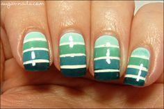 Sweet Sugar: Blue-Green Gradient Tape Manicure