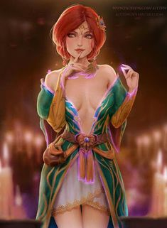 Even though Yen>Triss personality wise. This alt outfit though. - Even though Yen>Triss personality wise. This alt outfit though. Witcher Triss, Witcher Art, The Witcher, Ciri, Dnd Characters, Fantasy Characters, Female Characters, Fictional Characters, Fantasy Character Design