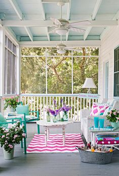 Porch Design Ideas Looking for porch paint ideas? Try a pretty mix of pastels. A gray painted floor and white surroundings allow splashes of turquoise, pink, and violet do the talking. Chippy finishes give this summer porch pretty patina. Summer Front Porches, Summer Porch, Screened In Porch, Beach Porch, Screened Porch Decorating, Back Porches, Outdoor Rooms, Outdoor Living, Outdoor Decor