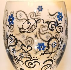 PAISLEY Painted Wine Glass, Elegant - Hand-Painted & Personalized