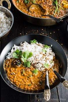 This easy to make Creamy Coconut Lentil Curry takes less than an hour to make (mostly hands off time) and is packed full of delicious Indian flavors. It's a healthy vegan recipe that makes a perfect meatless Monday dinner recipe. Make extras and you'll have a giant smile on your face at lunch the next day. | theendlessmeal.com #Curry #Vegan