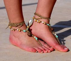 Etsy Transaction - Shell and beads Barefoot Sandals, Nude shoes, Foot jewelry, Wedding, Victorian Lace, Sexy, Yoga, Anklet , Bellydance, Steampunk, Beach Pool ✿