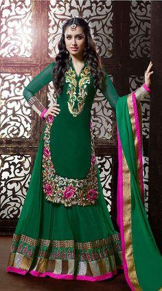 Shraddha Kapoor Dark Green Georgette Bollywood Salwar Kameez
