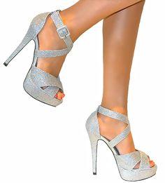Luna's date heels. Silver High Heel Shoes, Strappy High Heels, Prom Heels, Stiletto Shoes, Shoes Heels, Black Heels, Pageant Shoes, High Heels Plateau, Fashion Heels