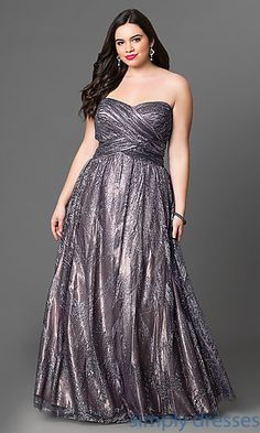 Shop plus-size prom dresses and plus-size ball gowns at Simply Dresses. Metallic-glitter long strapless formal dresses in plus sizes.