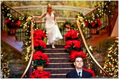 christmas poinsettia wedding | wedding cake and carolers from Alana and Paul's Christmas wedding ...