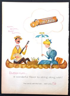 1955 Life Savers Butter Rum Candy Vintage Print Ad - Still Only 5 cents