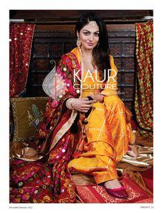 Neeru in golden raw-silk gota suit with a Bagh inspired Phulkari.