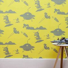 'The Final Frontier' in Yellow and Grey. Paperboy wallpaper range at Nubie kids boutique | Nubie - Modern Baby Boutique