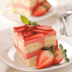 Strawberry Rhubarb Torte Recipe from Taste of Home -- shared by Kathleen Kowski of Trinity, North Carolina Party Desserts, Just Desserts, Delicious Desserts, Spring Desserts, Dessert Healthy, Cupcakes, Cupcake Cakes, Rhubarb Recipes, Strawberry Recipes