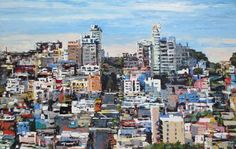 Kim Ford Kitz - Kim Ford Kitz Greenwich Street_Russian Hill and abstract San Francisco cityscape at Seager Gray Gallery in Mill Valley CA.