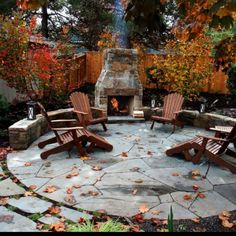 Fire pit seating on a stone patio