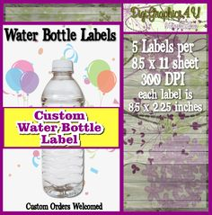Printable Customized and/or Personalized  Water Bottle Label Wrap for Birthdays Parties and More
