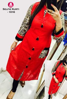 Style Array Present Rama Colored Beautiful Kalamkari Printed Straight Slub Cotton Kurti.This is Full Stitched Kurtis can be stitched according to your size and measurements. Kurti Patterns, Dress Patterns, Kurta Designs, Blouse Designs, Anarkali, Lehenga, Suits For Women, Clothes For Women, Printed Kurti