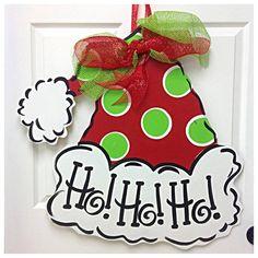 Items similar to Christmas Wreath, Santa Wreath, Ho Ho Ho, Door Hanger, Wreath on Etsy - Lilly is Love Christmas Door, Christmas Signs, Christmas Wreaths, Christmas Decorations, Christmas Ornaments, Reindeer Christmas, Etsy Christmas, Winter Christmas, Christmas Ideas