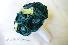 Bridal Fabric Bouquet - Brooch Bouquet - Teal Blue/Green  Fabric Bouquet, Unique Wedding Bridal Bouquet