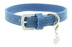 """Amazon.com: Jeweled Buckle Leather Dog Collar By FURRY (Light Blue, 12""""): Pet Supplies"""