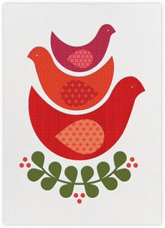 Petit Collage Holiday Card  Three Little Birds - Paperless Post