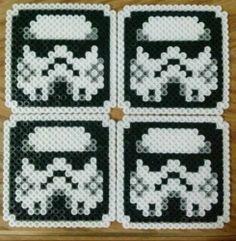 Star Wars Storm Troopers Perler Bead Coaster Set of 4 Hama Beads Coasters, Diy Perler Beads, Pearler Beads, Fuse Beads, Fuse Bead Patterns, Perler Patterns, Beading Patterns, Melty Bead Designs, Storm Troopers