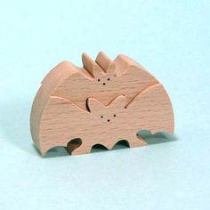 組み木 木のおもちゃ 『遊プラン』 KW202 | ノアのカップル・コウモリ(S)