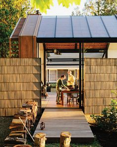 """When Bill and Ruth True bought a second home, overlooking the shores of Puget Sound on picturesque Vashon Island, it came with a compact, detached wood garage-cum-toolshed. Themultidisciplinary Seattle design firm Graypants reimagined the toolshednot strictly as a work of architecture, but as a creative project. """"We said,'Take the garage. Just go,'"""" Bill says. """"We've commissioned a lot of art through the years, and this felt like another piece of art to commission.""""  Photo by Grant ..."""