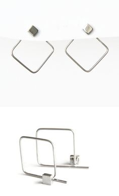 Geometric earrings (an interpretation of the ear jacket earrings) by Edith Toledano, Israel. Read more at https://www.etsy.com/EdithToledano/listing/475060417/sterling-silver-square-hoop-studs?ref=shop_home_active_2