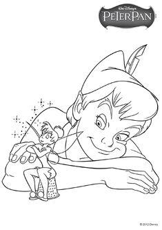Dessin à colorier de Peter Pan et de la fée clochette