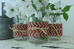 Mason Jars with Chevron Burlap Ribbon - Farmhouse Chic via Etsy