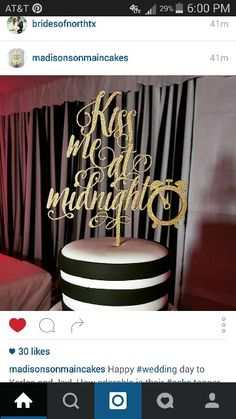 """Madison's on Main of Norman, Oklahoma created the perfect New Year's Eve wedding cake. Check out the cake topper, """"Kiss Me At Midnight"""""""