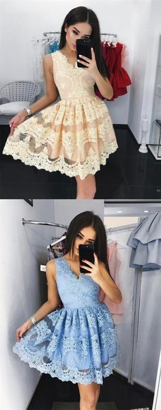 light champagne lace homecoming dresses short , vintage a line knee length homecoming dress for teens, cheap short prom party dress #homecoming