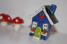 Little+Clay+House+in+Blue+with+Lime+Green+Door+by+HeartHomes,+$22.00