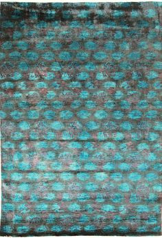 Vendimia Rugs Overdyed Floral Dots Teal Rug | Contemporary Rugs