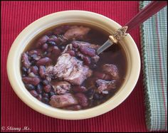 A family tradition, this Monday Beans and Chicken, is an easy prep with the slow cooker.  Combine the clean ingredients on low for up to 7 hours, allowing the the garlic, cayenne, beans, and chicken to stew together.