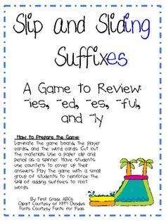 FREE download - 5 pages -  you can help your students identify suffixes and increase their practice of -ies, -ly, -ful, -ed, -ing, and -es. This game is a fantastic supplement to small group work and makes a great center! Also includes a recording sheet